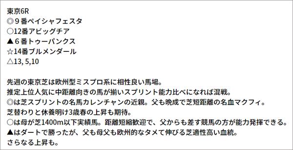▼5/8(土) 東京6R