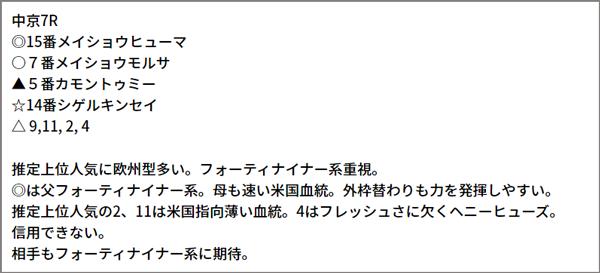 6/12(土) 中京7R 予想本文