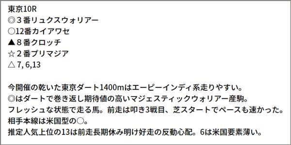 6/12(土) 東京10R 予想本文