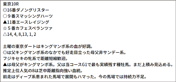 6/13(日)東京10R 予想本文