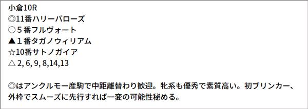 7/17(土) 小倉10R 予想