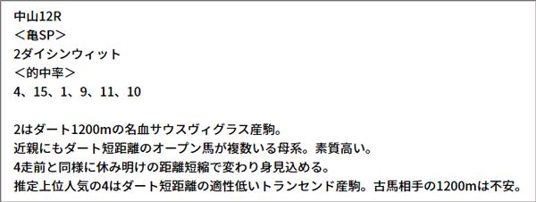 9/12(日) 中山12R 予想