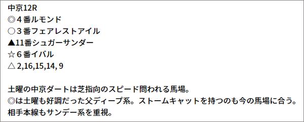 9/19(日) 中京12R 予想