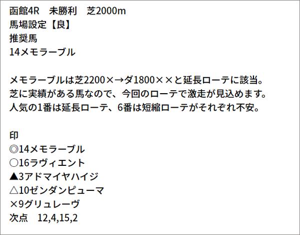 7/4(日) 函館4R 予想