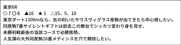 6/19(土) 東京6R 予想