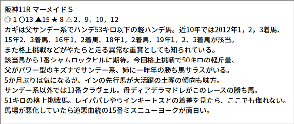 6/20(日) 阪神11R 予想