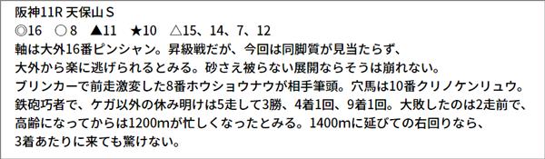 6/26(土) 阪神11R 予想