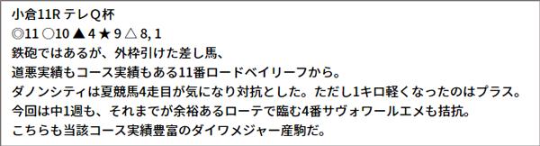 9/4(土) 小倉11R 予想本文