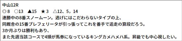 9/25(土) 中山12R 予想