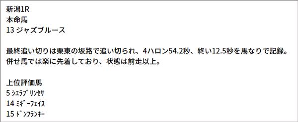 7/24(土) 新潟1R 予想