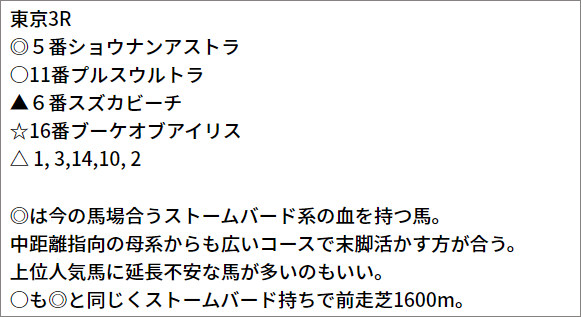 5/2(日) 東京3R 予想本文