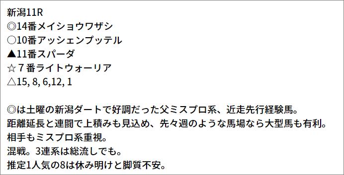 5/2(日) 新潟11R 予想本文