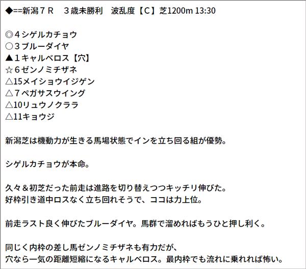 8/1(日) 新潟7R 予想
